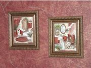 Bathroom walls decorated in faux paint finish ScriptIllusion Tuscan Red