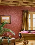 Game Room decorated with PaperIllusion Faux Paint Finish Script Tuscan Red 5812295