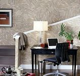 Home Office decorated with Paper Illusion Travertine Green and Red 5813181