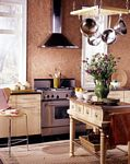 Kitchen decorated with Paper Illusion Travertine Terra Cotta 5813182