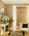 Hall decorated with PaperIllusion Faux Paint Finish Script Burnished Gold