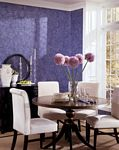 Dining Room decorated with Paper Illusion ScriptIllusion Cobalt Blue